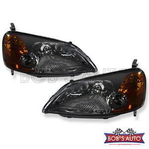 For 2001 2003 Honda Civic 2d Lx Ex Dx Smoke Oe Style Headlight Headlamps Pair