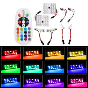 2x Rgb 36smd 5050 Led Panel Light T10 Festoon Dome Car Lamp Bulb Remote Control