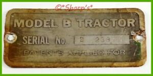 John Deere Unstyled B Serial Number Tag S n 23872 Mo Tractor Free Archive