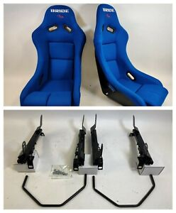 New Pair 2 Seats Bride Vios Blue Cloth Fiberglass Seats Low Max Jdm For Rsx