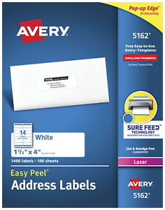 Avery Easy Peel Permanent adhesive Address Labels For Laser Printers 1 1 3 X 4