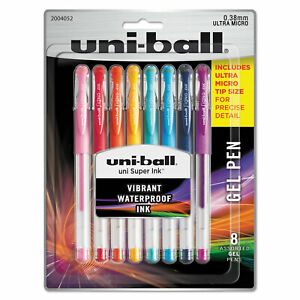 Uni ball Gel Pens Ultra Micro And Medium Points Micro Assorted Ink 8 set 2004052
