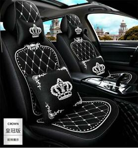 Crown Car Seat Covers Set Universal Car Interior Ice Silk Black With 2 Pillows
