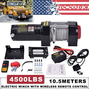 Atv Utv 12v 4500lb Winch Electric Remote Waterproof Boat Steel Cable Kit