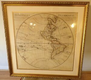 300 Year Old Guillaume De L Isle Early 18th Century Map W Hemisphere New Frame