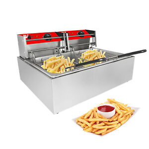 Double Deep Fryer 2 basket Fryer For Commercial Use Stainless Steel 12l