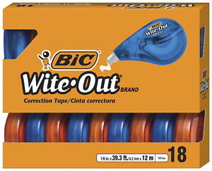 Bic Wite out Ez Correct Correction Tape 1 6 Inches X 39 3 10 Feet White Pack