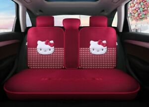 Hello Kitty Cartoon Car Seat Covers Set Universal Car Interior Red