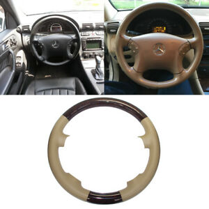 Tan Leather Wood Steering Wheel Cover Cap 00 07 Mercedes W203 C Class C240 C320