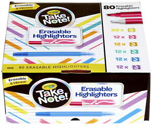 Crayola Take Note Erasable Dual Ended Highlighters Assorted Set Of 80