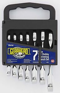 Gearhead Sae Stubby Ratcheting Wrench Set 7 Piece Gh4762