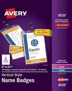 Avery Vertical Name Badge Holder And Lanyard Kit 6 X 4 1 4 Inches Pack Of 25