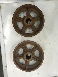 Cast Iron 8 In Antique Hit And Miss Gas Engine Cart Wheels