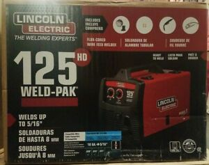 New Lincoln Electric 125 Amp Weld pak 125 Hd Flux cored Welder With Magnum 10