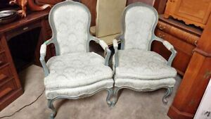 2 Vintage Designer French Provincial Arm Chairs Carved Wood Nice