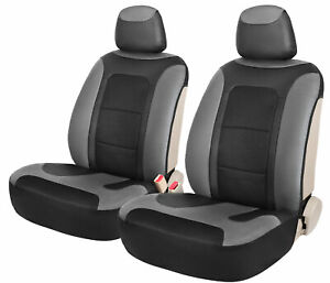 Side Less Faux Leather Front Seat Covers 2pcs For Car Truck Suv Black Grey