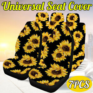 7pcs Universal Car Seat Covers Washable Protector Full Seat Front Back Flower