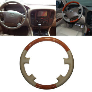 Tan Leather Wood Steering Wheel Cover For 1998 02 Land Cruiser Fj100 4700 4500