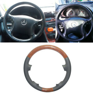 Gray Leather Brown Wood Steering Wheel Cover Decor 00 07 Benz W203 S203 230 280