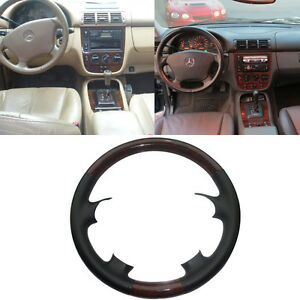 Black Leather Wood Steering Wheel Cover Mercedes 98 05 W163 M Class Ml320 Ml430