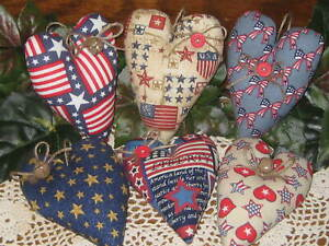 6 Patriotic Hearts Country Wreath Accents 4th Of July Home Decor Tree Ornaments