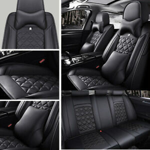 Top Pu Leather Car Seat Cover Set Universal Protector Luxury Front Rear Cushion