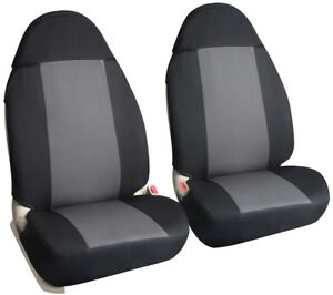 2 Pcs Bucket Seat Covers Universal Fit For Car Seat With Armrest Black Grey