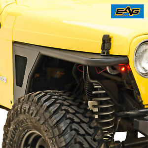 Eag Front Fender Flare W eagle Light Black Steel Tube Fit 97 06 Jeep Wrangler Tj
