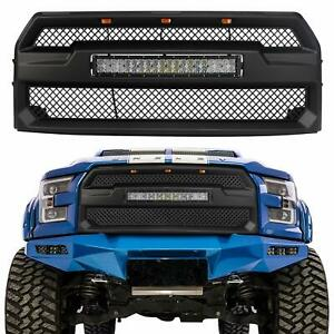 Raptor Style Grille Grill Mesh For Ford F150 2015 17 With 5d Curved 120w Led Bar