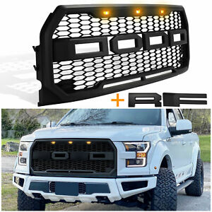 Raptor Style Front Grill With Amber Lights Letters For Ford F150 2015 2017