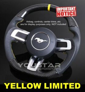Yellow Limited Genuine Carbon Nappa Leather Steering Wheel For Ford Mustang 18