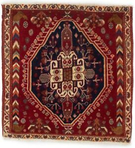 Semi Antique Tribal Small Entryway 2x2 Abadeh Oriental Square Rug Home Carpet