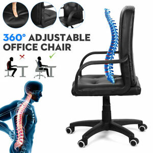 Office Chairs Computer Desk Black Ergonomic Executive Chair Swivel Mid Back Desk