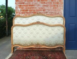 French Antique Carved Walnut Louis Xv Queen Size Upholstered Bed
