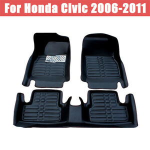 For Honda Civic 2006 2011 Car Floor Mats Front rear Liner Leather Mat