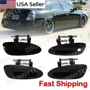 Door Handle Smooth Black Exterior Outside Kit Set Of 4 For 02 06 Nissan Altima