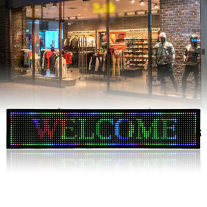 Led Sign Led Scrolling Sign 40x8 Inch Seven color Sign Advertising Programmable