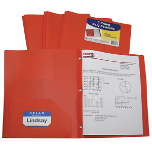 C line Poly Portfolio Folder With Prongs Letter Orange Pack Of 25