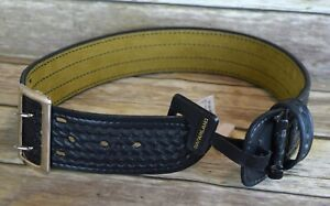 Safariland Sam Browne Duty Belt 2 1 4 Leather Black Basket Weave Design Sz 22