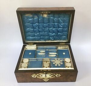 Antique Walnut Fitted Sewing Box Mother Of Pearl Cotton Reels Silk Winders