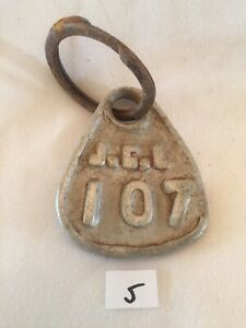 Collectible Aluminum Metal Rare Vintage Cattle Livestock Neck Tag jcl 107 Lot 5
