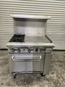 36 Range 2 Burner 24 Griddle Flat Top Gas Oven Atosa Ato 2b24g 4153 Commercial