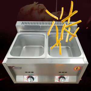Stainless Steel Gas Fryer 2 Wells 6l 5 9 Inches Deep For Restaurants Hotels