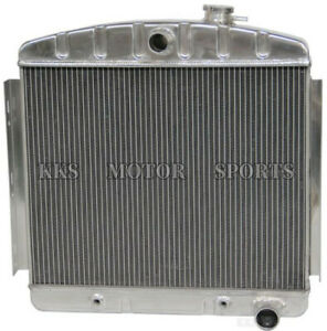 Kks 3 Rows Aluminum Radiator For 1955 1956 Chevy Bel Air 6 Cyl Polished