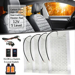 Carbon Fiber Universal Heated Seat Heater 2 dial 5 level Switch Kit For 2 Seats