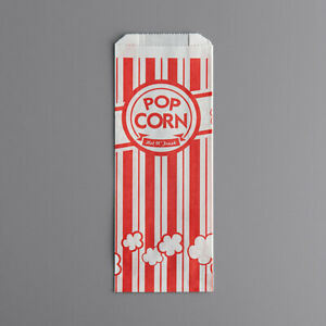 Popcorn Bag Classic Grease Resistant Whimsical Eye catching Theatre 100 pack New