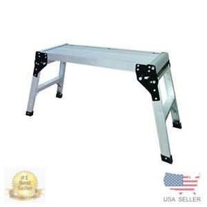 Folding Aluminum Work Platform Portable Stool Bench Step Ladder Werner Pro Deck