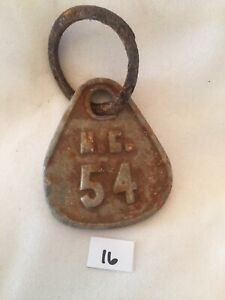 Collectible Aluminum Metal Rare Vintage Cattle Livestock Neck Tag Mc 54 Lot 16