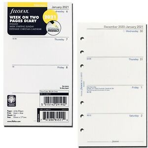 2021 Filofax Personal Size Refill 21 68419 Week On Two Pages 95mm X 171mm
