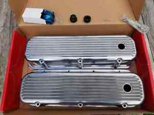 New Rpc Tall Finned Polished Aluminum Valve Covers Bbc Big Block Chevrolet R6280